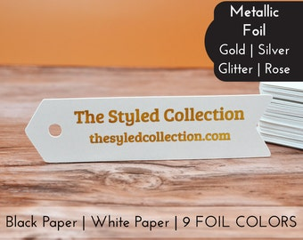 100 | Metallic Foil Silver Gold | Flag Arrow Pennant Shape | Customized Hang Tags Gift Tags Thank You Wedding