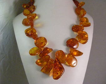 Glowing Golden Baltic Amber Bead Necklace .....  Lot 5636