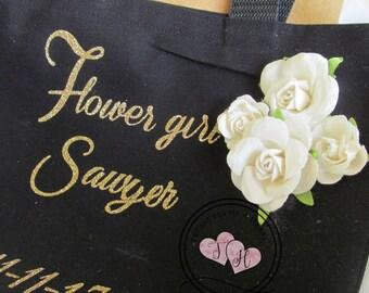 Flower Girl Wedding Tote, Flower Girl Mini Tote