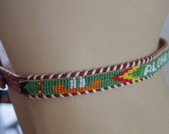 Western Style Beaded Leather Belt Vintage Souvenir of Hawaii