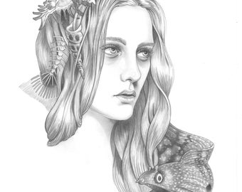 "Art Print of Original Pencil Drawing, ""Mermaid Hair"""