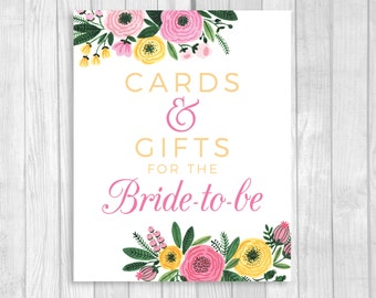 Cards and Gifts 5x7, 8x10 for the Bride-to-Be Printable White Bridal Shower Sign - Pink and Yellow Watercolor Flowers - Instant Download