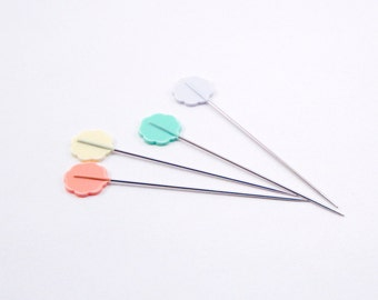 Clover Japan Flower Head Pins - Box of 100 Pins - Sewing Pins - Flower Pins - Cute sewing pins - Pastel pins - Japanese Sewing Pins