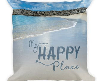 Beach Pillow with Saying, Words, Tropical Throw Toss Cushion, Washable Nature Lover Gift, Square 18 x 18, Modern Decor Accent for Bed, Sofa