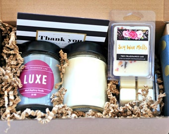 Gift Set - Luxury Soy Candle Gift Box | Gifts for her | Gift box set | Aromatherapy gift basket | Wax melts | Room and linen sprays | Home