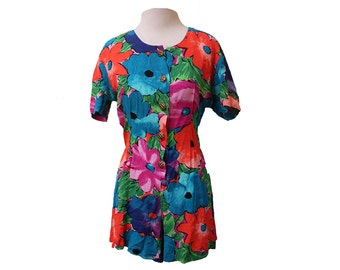 Vintage Floral Romper Womens US Size 7/8 Small Medium