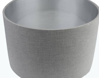 Pebble Grey Linen Mix Cylinder / Drum Lampshades/ Pendant Silver Interior