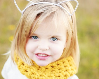 Girls Yellow Scarf - Baby Girls Knit Scarf - Mustard Girls Scarf - Kids Yellow Scarf Girls Cowl Kids Chunky Winter Scarf Baby Winter Outift