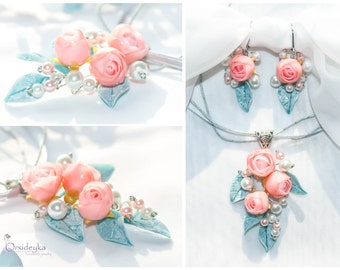 Rose pendant Ranunculus pendant Polymer clay pendant Polymer clay jewelry Polymer clay rose Pink rose pendant Blue leaves Flower pendant