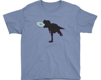 Super Fun T-Rex Dinosaur Eating Donut Youth Short Sleeve T-Shirt