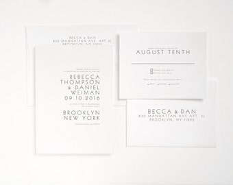 TIVOLI Letterpress Wedding Invitation - Minimal Modern Invite - Sample