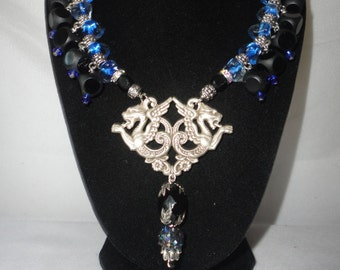 Games Of Throne Inspired Onyx Blue Glass Pendant Necklace*****.