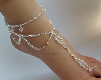 Crystal Barefoot Sandals Bridal Foot Jewelry Anklet