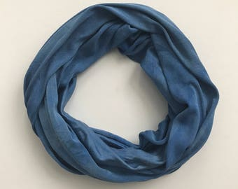 Silk Infinity Scarf - Blue Infinity Scarf - Blue Scarf - Casual Scarf - Neutral Scarf - Knit Infinity Scarf - Gift for Her - Wife Gift