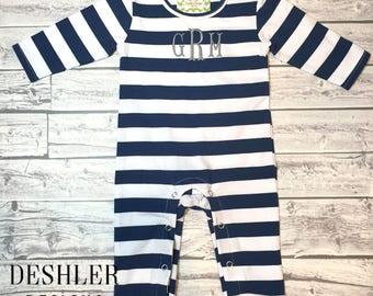 Baby Romper, baby boy romper, boys romper, boys one piece, baby boy onesie, baby boy outfit, monogram romper, monogrammed romper, baby boy