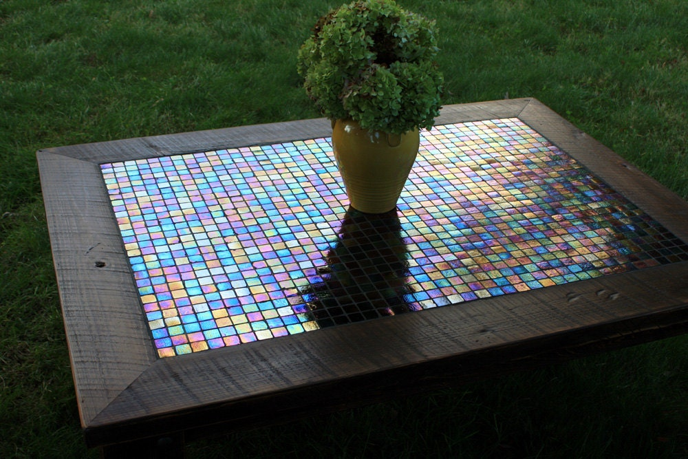Large Coffee Table. Iridescent Mosaic Tile Coffee Table.