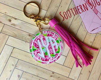 Tassel keychain, Lilly Pulitzer inspired monogram keychain with tassel