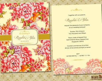 Oriental Wedding Invite with Peony Print - Printables