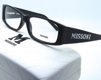 Vintage Missoni Thick Black Acrylic Glasses With Logo Detail and Case