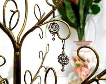 Flower Charm Earrings by Anne O'Brien Design / Antique Gold and Purple Beaded Wire Earrings