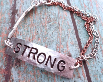 Your Word Bracelet - Brave Fierce Strong Kind Warrior - Your Mantra Your Word - Empower Inspire Word - Custom Word Bracelet - B55