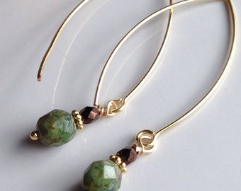 Speckled Quartz Earrings, Czech Glass, Green and Brown, Long Earrings, Gold Plated, Etsy, Etsy Jewelry