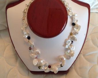 Regal Keshi and Natural Gemstone Necklace
