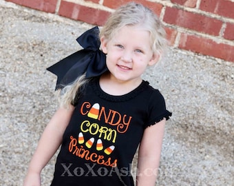 Girls Halloween candy Corn Shirt--Candy Corn Princess-- Appliqued Embroidered Shirt or bodysuit