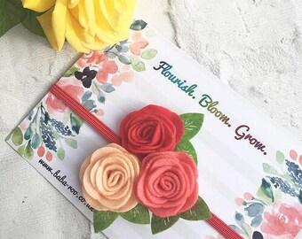 Girl's Birthday Present, Felt Headband, Bridesmaid Gift, Flower Girl Gift, Flower Headband, Felt Flower Hair