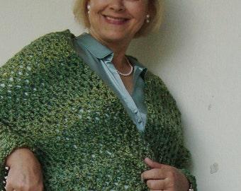 Crocheted Shawl, Crochet Shawl, Green Shawl, Shawls, Wraps Shawls, Gift for Her, Gift for Him, Hand Crocheted Shawl, Variegated Green Shawl