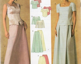 McCall's Evening Elegance Pattern  3995 TOPS & SKIRTS Misses Sizes 8 10 12 14