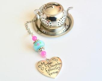 Mother Daughter Tea Infuser, Friends Forever Mother's Day Tea Infuser, Tea Party, Heart Charm Tea Infuser, Blue & Pink Beaded Tea Ball