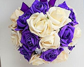 Purple and ivory pomander, flower girl kissing ball, wedding flowers, purple wedding, fall wedding, rustic weddings, winter wedding, roses