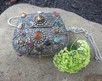 Vintage metal Sajai purse with agate stones