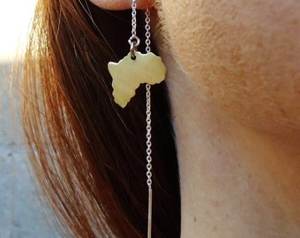 Golden-Silver-Mother Africa-Minimalis-Threader Earrings / Free Domestic Shipping