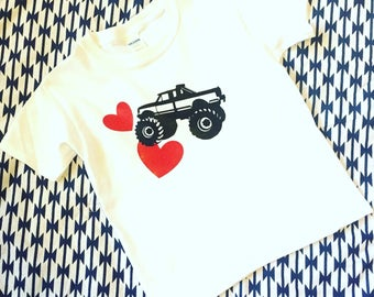 Boys Monster Truck Valentines Shirt