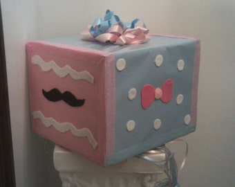 Gender reveal Baby Shower pull string Pinata - Bows/Mustache