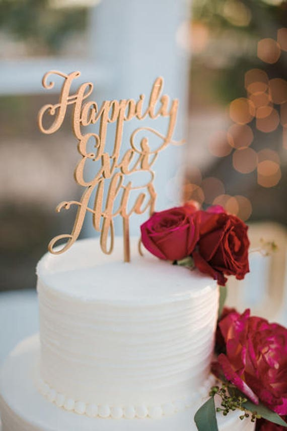 Disney Wedding, Happily Ever After Cake Topper, Disney Cake, Gold Cake Topper, Glitter Cake Topper, Wooden Cake Topper