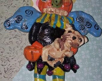 Whimsical Folk Art Halloween Pumpkin Angel English Bulldog Ornament Folk Art