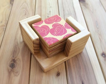 Hand painted wooden coasters - Heart shaped roses - Red & gold - Mothers Day gift - Gift for her - Mum - Mom - Drink coasters - Table decor