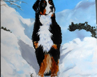 Bernaise Mountain Dog Custom Portrait Painting, Fine Art Oils on Canvas
