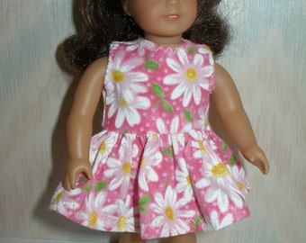 Dress for 6 1/2 inch dolls -- pink and white daisy print