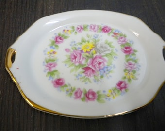 Figurine miniature-porcelain-white-gold-pink-cake plate-Flower wreath Vintage