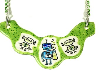Robot Sparkle Surly Ceramic Necklace with Green Rhinestone Chain