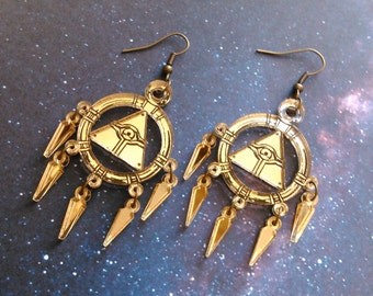 Yugioh Millennium Ring Earrings, Yu-Gi-Oh Pendant Earrings, Yugioh Cosplay, Hypoallergenic, Clip Ons