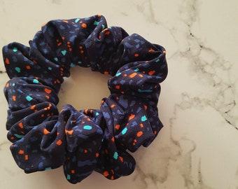 Darling blue and orange - elastic hair - Lycra - blue cabbage scrunchies