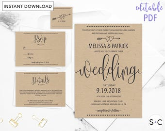 Rustic Wedding Invitation Template, Barn Wedding Invitations, Cheap Wedding Invitations, DIY Wedding Template