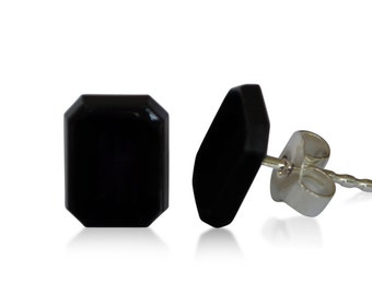 Onyx Stud earrings, natural, Octagon, 9 x 7 mm, 925 silver