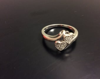 Sterling silver 10 Diamond  pebbled heart duo ring, ladies heart ring,