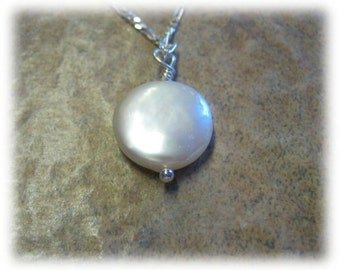 Pearl Solitaire Necklace Akoya Coin Pearl on Sterling Silver